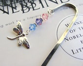 Dragonfly Bookmark Swarovski Crystals Pink Purple Blue