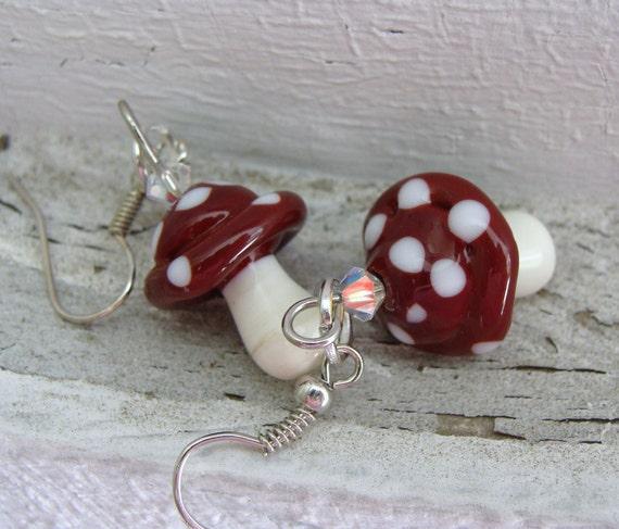 Mushroom Artisan Lampwork Earrings