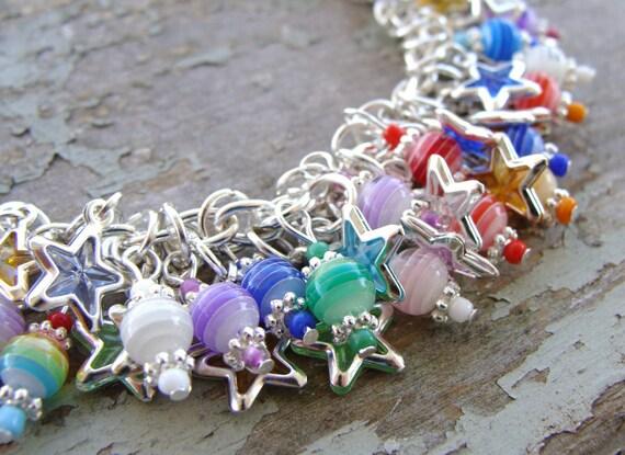 Reserved- Rainbow Stars and Stripes Charm Bracelet
