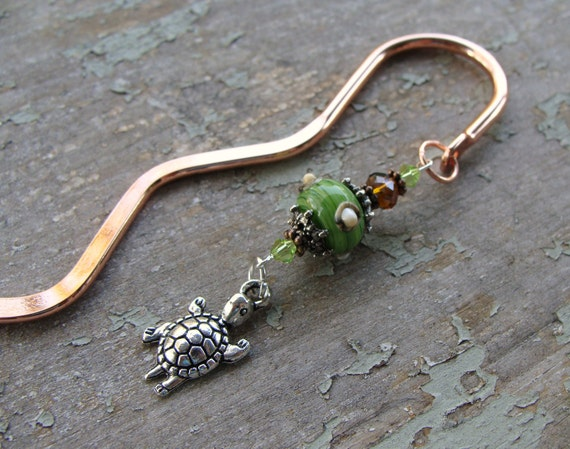Turtle Copper and Artisan Lampwork Bookmark