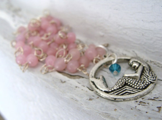 Mermaid Necklace Charm Pink and Silver Beach Ocean - CLEARANCE