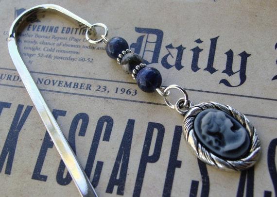 Cameo Bookmark Navy Blue Victorian Charm