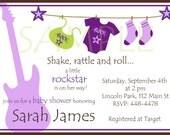 Rockstar Baby Shower Girl Invitations Purple