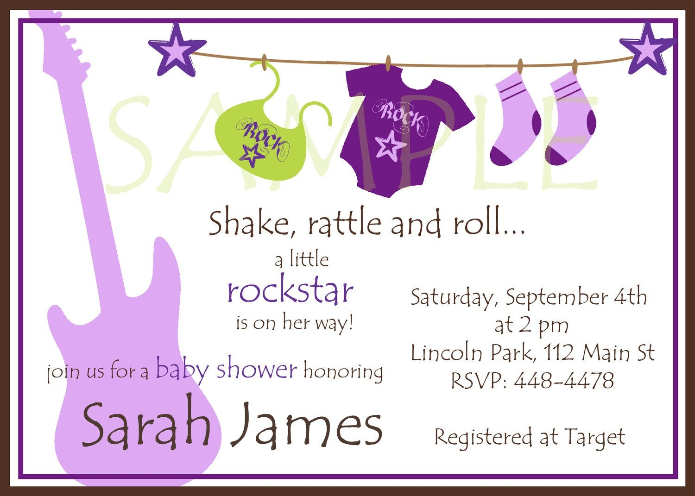 items similar to rockstar baby shower girl invitations purple on etsy