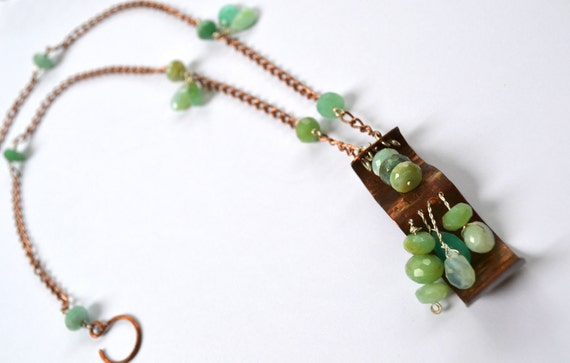 beautiful and rustic green/blue faceted Peruvian opal copper/silver beaded necklace with large hammered rustic pendant