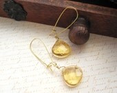 Gold and Yellow Glass Long Kidney Hook Dangles