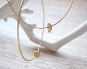 Gold Plated Hoops with Gold Brushed Disc Gold Hoop Earrings, Available as French Hook Hoop