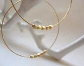 Gold Hoop Earrings, 5 Gold Plated Beads, Hoop Earrings, Also in Silver, Gold Hoops