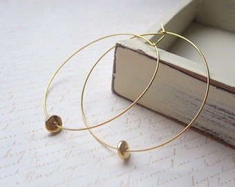 Gold Hoop Earrings, Disc Bead, Gold Hoops