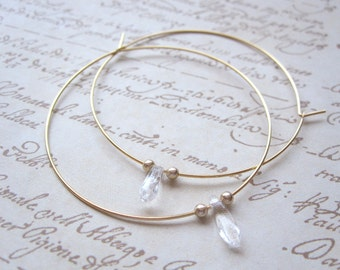 Gold Hoops with Clear Daggers and Gold Beads Also Available in Silver, Hoop Earrings