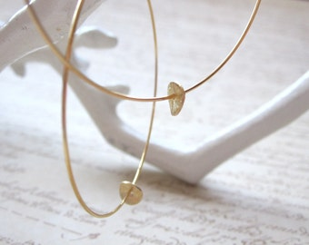 Gold Plated Hoops with Gold Brushed Disc, Gold Hoop Earrings