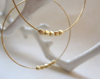 Gold Hoop Earrings, 5 Gold Plated Beads, Hoop Earrings, Also in Silver, Gold Hoops