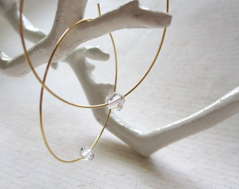Gold Plated Hoops with Swarovski Crystals Earrings, Gold Hoops