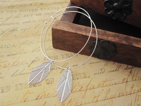 Silver Leaf Earrings, Silver Hoop Earrings, Silver Feather Earrings, Silver Hoops
