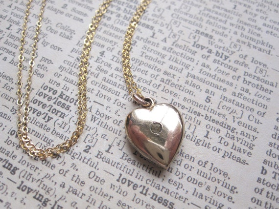 Simple Gold Heart Necklace Vintage Pendant on 14k Gold Filled Chain Rhinestone Accent