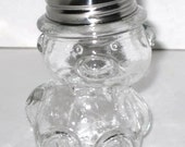 Figural Clear Glass Vintage BEAR CANDY CONTAINER Bottle