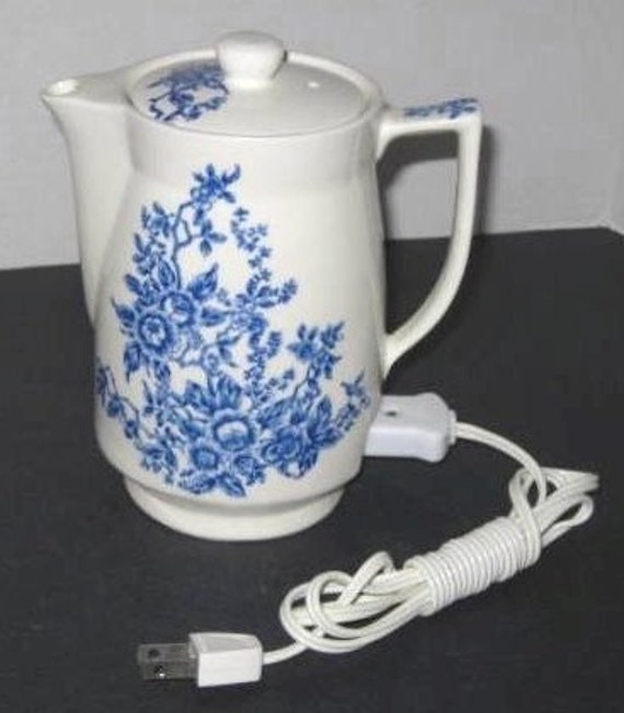 1940's Blue and White Floral Electric Teapot Japan