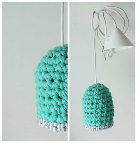 Hand crocheted pendant lamp Mint with grey/white accent. Unique design