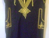 Black and Gold Vintage Egyptian Kaftan - L to XL