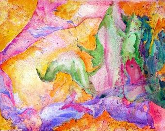 Waterfall in Colors - Tintas, Watercolor, Vintage, Spain