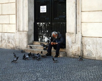 Old Man with Pigeons, Piazza Navona, Rome, Italy