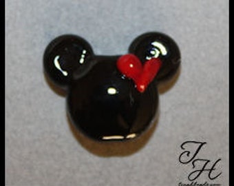 Black Ears Focal Bead with Red Heart Handmade glass lampwork bead by TH