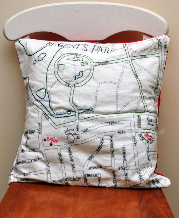 Embroidered London Map Cushion - Regent Park