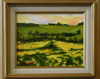 Rolling Hills with Field of Flowers  Original Oil Painting Framed
