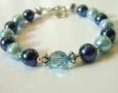 Blue and navy Swarovski crystal and glass pearl bracelet