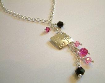Rasberry burst crystal necklace