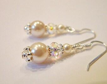 Snowdrift crystal and pearl earrings - bridal