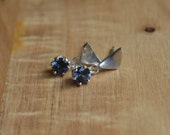 Blue Ceylon Spinel Danglies With Fine Silver Posts
