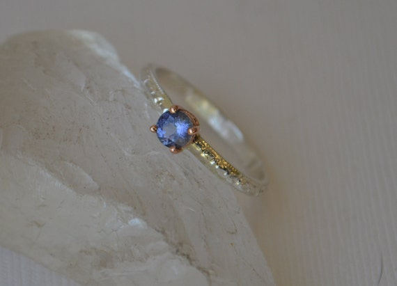 Unheated Tanzanite Ring with Rose Gold on Patterned Sterling Band
