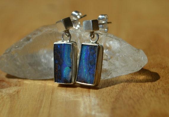 Australian Boulder Opal Earrings in Sterling Silver