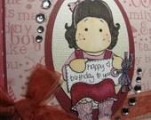 Happy Birthday Tilda with Tag - 6X6 Handmade Card