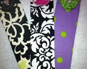 Set of 3 custom bookmarks with fabric rosette & bling
