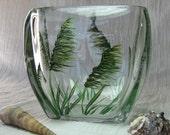 Beach Art - Green Accessory Organizer - Painted Glass Bowl - Candle Holder - Sea Grass Decor
