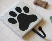 Dog Leash Hook, Cute Animal Paw Print, Pet Accessory Hook, Wall Key Holder, Black, Decorative Ceramic Tile