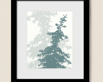 Pine Tree Art Print 8 x 10, Blue Home Decor, Living Room Wall Art , Nature Decor Silhouette Art (64)