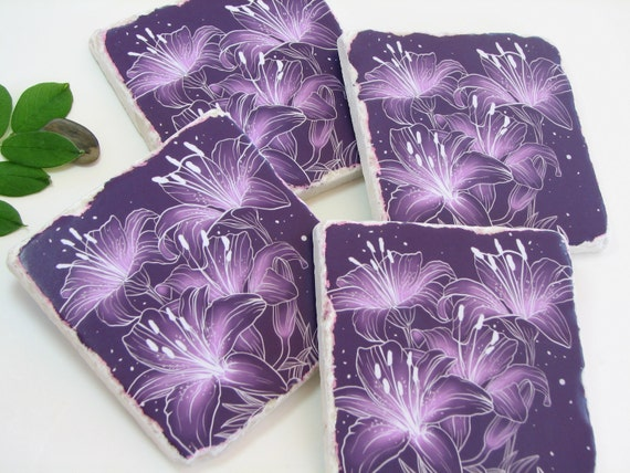Decorative Drink Coasters, Summer Flower Tiger Lily, Floral Ceramic Tile Art, Purple Decor, Paperweights, Home Decor Accessory - Set of 4