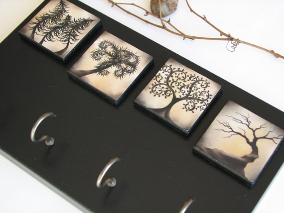 Key Rack Wall Organizer, Whimsical Tree, Wall Key Holder, Wall Hooks, Mysterious Art, Key Hooks, Unusual, Black, Creepy, Fantasy