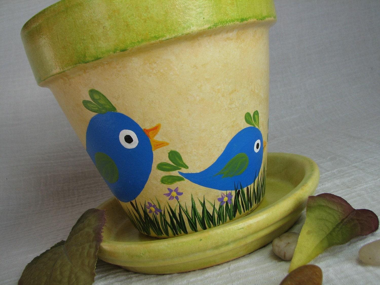 Green Terra Cotta Pot Painted Clay Planter Cute Bird