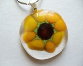 Glass fused Sunflower pendant
