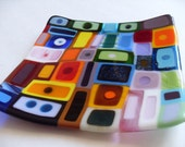 Most colorful fused glass Dish, Plate, Platter