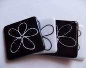 Black/White  fused glass flower coasters