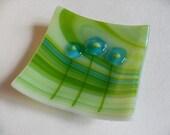 Whimsical flowers fused glass mini dish, Turquoise, green swirl