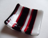 Black, Red and white striped fused glass mini dish