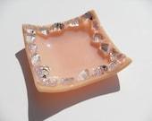 Dichroic Fused glass mini dish peach/salmon