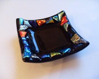 Black Dichroic Fused glass mini dish