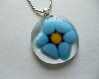 Glass Fused Turquoise Blue Flower pendant